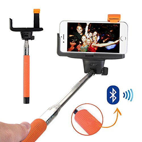 Selfie Stick, GMYLE® Bluetooth selfie stange Monopod Handheld Pole mit Embedded drahtlose Auslöser Fernbedienung für iPhone 6 6Plus /Galaxy Note 4/S6 5 (Orange)