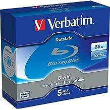 Verbatim 43836 25GB BD-R 6pieza(s) disco blu-ray lectura/escritura (BD) - BD-RE vírgenes (BD-R, 120 mm, 25 GB, 6x, Caja de joyas, 6 pieza(s))