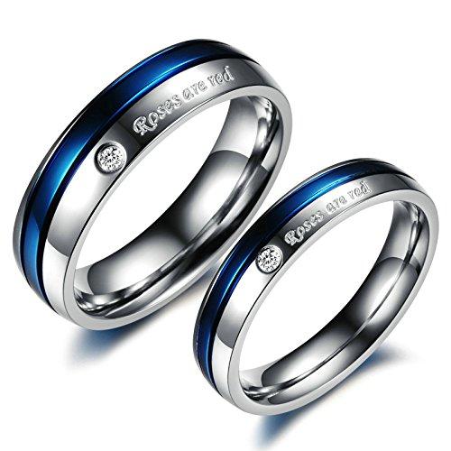 Adisaer Verlobungsring Edelstahl Partnerringe Blau Silber Ring 'Roses are red' Zirkonia Herrenring Größe 57 (18.1) Damenring Größe 52 (16.6) Hochzeit