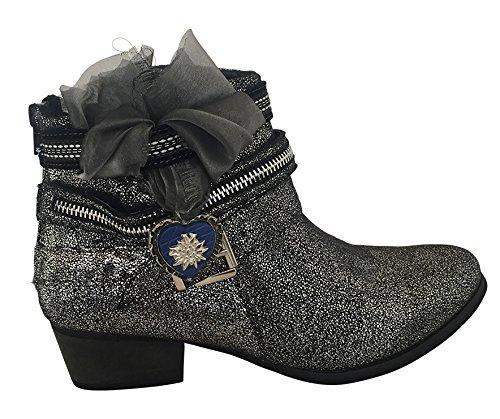 Stiefeletten Stiefel Sneaker Schuhe Damen Silber Schwarz Metallic High-top Leder-optik (Silber Trachten Stiefel)