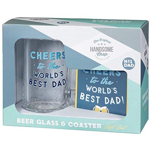 The original handsome chap collection - set regalo per la festa del papà, con bicchiere e sottobicchiere cheers to the world's best dad