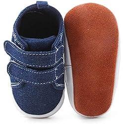 DELEBAO Chaussons Bébé Cuir Souple Chaussure Bebe Garcon Chausson Enfant Garcon Chaussures Bébé Bleu 6-12 Mois