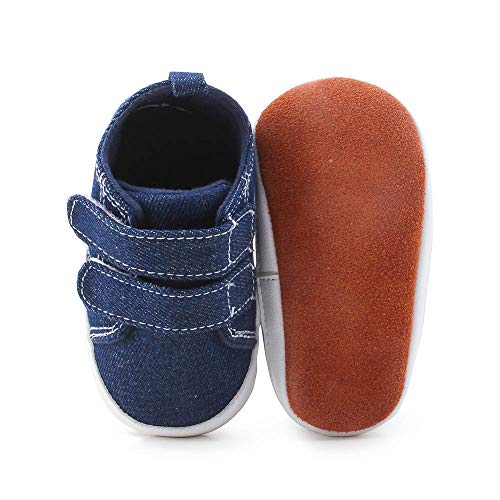 DELEBAO Weiche Baby Kleinkind Lederschuhe Babyschuhe Krabbelschuhe Leder Baby Schuhe Lauflernschuhe Lederpuschen Blau 0-6 Monate