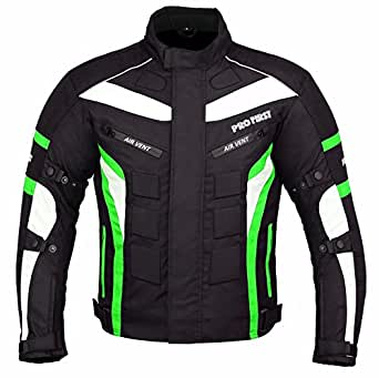 PROFIRST JKT-007 | Waterproof Motorbike Motorcycle Jacket In Cordura Fabric and CE Approved Armour - 6 Packs Design Most Popular (Black & Green, 2X-Large)