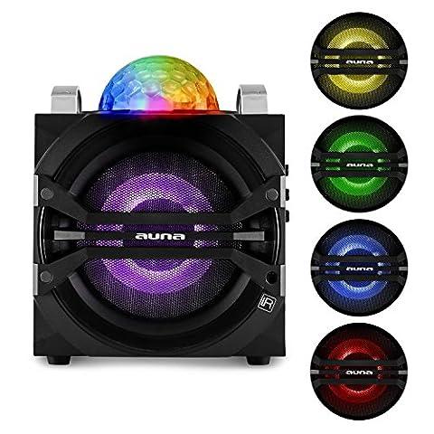 auna DisGo Box 65 Système audio karaoké Bluetooth (haut-parleur Subwoofer, enceinte portable, micro sans fil, radio FM, port USB, compatible MP3, entrée AUX)