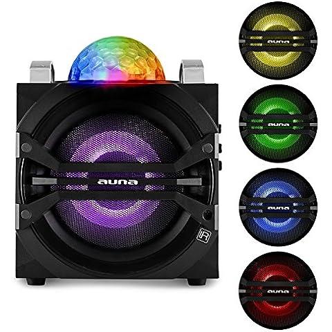 auna DisGo Box 65 Sistema de audio para fiestas altavoz portátil Bluetooth USB con micrófono inalámbrico (40W RMS potencia, jelly ball, amplificador integrado, sintonizador radio FM, batería, efectos de luz LED colores, entrada AUX, disco móvil, mando