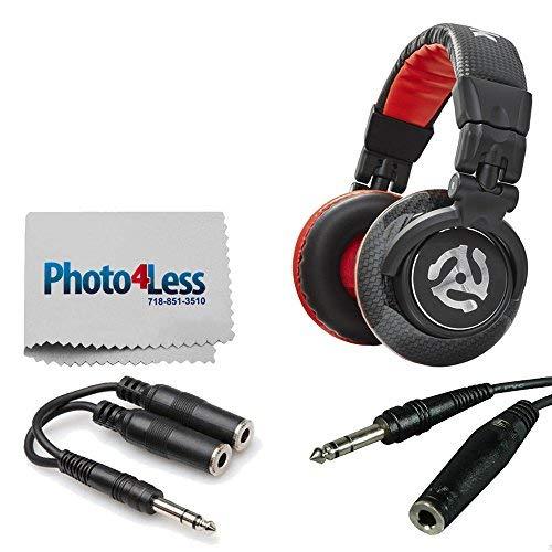 Numark Red Wave Carbon Professionelle DJ-Kopfhörer + TRS Dual 1/4 TRS Female Y Kabel + TRS Kopfhörer-Verlängerungskabel + Photo4less Reinigungstuch + komplettes Zubehör-Set