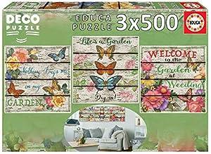 Educa Borrás- Deco Jardin Campestre 3x500 Puzzle, Multicolor, Piezas (17965)