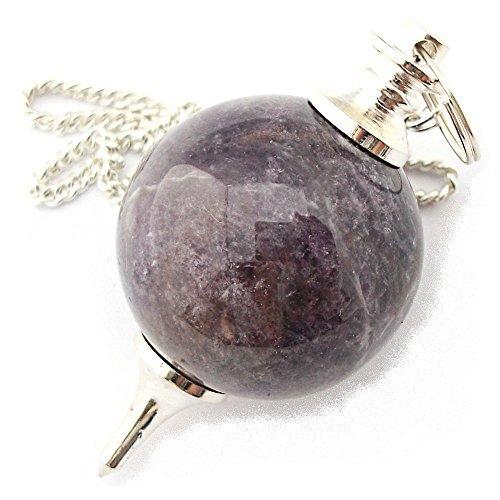 Pendolino sferico di pietra preziosa, pendolo di cristallo per radioestesia, rabdomanzia, divinazione e cristalloterapia (ametista)