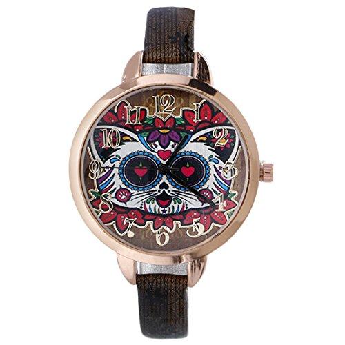 Souarts Damen Armbanduhr Katze Muster Beiläufige Geschäfts Analog Quarz Uhr mit Batterie für Weibliche Studenten Schwarz Band