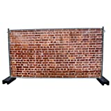 (PVC) Steinwand B4 Bauzaunbanner, Sichtschutz, Windschutz, Zaunblende, Festival Banner, 340 x 173 cm, DRUCKUNDSO