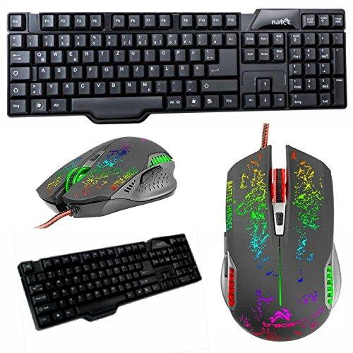 Eurosell Gamer Gaming Tastatur + 6 Tasten Maus Set Bundle deutsch qwertz kabelgebunden Mouse + Keyboard schwarz deutsch