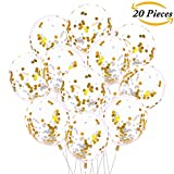 Aneco 20 Pieces Gold 12 Inches Confetti Balloons Latex Clear Confetti Balloon for Birthday Wedding Party Decorations