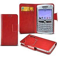 (Red) Blackberry 8830 World Edition Mega sottile Protezione in ecopelle