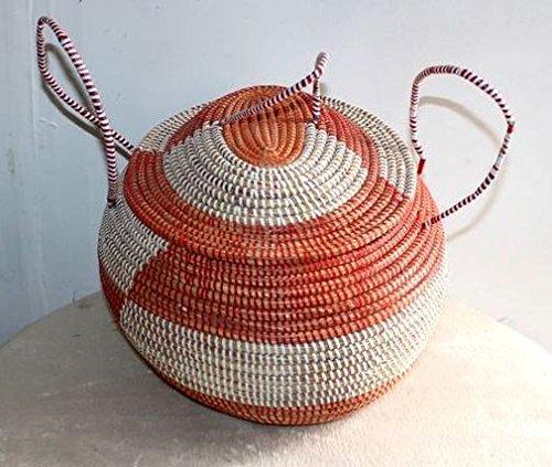 afriqueartdecoration.com AFRIQUE ART DECORATION -Grande corbeille ronde en paille tressée 6506-S6V-1810