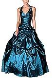 Romantic-Fashion Damen Ballkleid Abendkleid Brautkleid Lang Modell E454 A-Linie Perlen Pailletten DE Blau 34