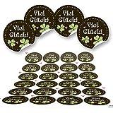 48 runde schwarz grün rot Kleeblatt Glücksklee Aufkleber Sticker selbstklebende Etiketten Verpackung Geschenke Kunden Mitgebsel Gastgeschenk