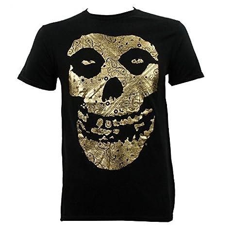 maikeerThe Misfits Men's Gold Foil Fiend Skull T-Shirt Black