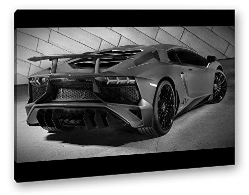deyoli luxuriöser roter Lamborghini Effekt: Schwarz/Weiß Format: 80x60 als Leinwand, Motiv fertig gerahmt auf Echtholzrahmen, Hochwertiger Digitaldruck mit Rahmen, Kein Poster oder Plakat