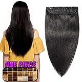 Extension a Clip Cheveux Naturel Rajout Cheveux Humain Type Epais - 100% Remy Human Hair - #1 NOIR FONCE - Une Bande/Monobande - 60CM(105g)