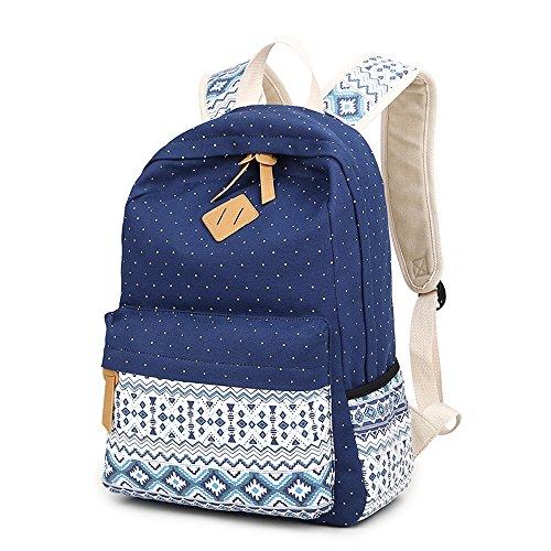 Imagen de backpack  escolares, marsoul mujer  escolar lona grande bolsa estilo étnico vendimia casual colegio bolso para chicas gypsy punto azul  alternativa