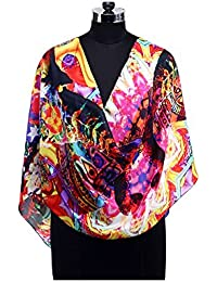 Nirvanaland's Multi Color Graphic Graphic Printed Pure Slink Stole For Women (cc_25 Free Style)