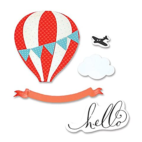 Sizzix Hot Air Balloon by Brenda Walton Framelits Die Set with Stamps, Pack of 9