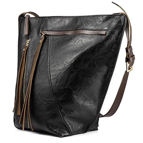Eimer tasche für frauen handtasche crossbody tasche reisetasche multi pocket mit großer kapazität mit langen tassel (Handschuhe Tasche Frauen)