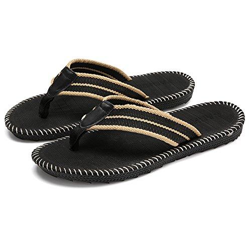 DogHaccd pantofole,Anti-slittamento ciabatte da bagno estate uomini di svago all'aperto del campo e presa antiscivolo cinghia piede maschile di rimanere fresco pantofole Nero3