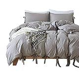 HOTNIU 2-Teiliger Weicher Bettbezug - Komfortable Atmungsaktive Luxuriöse Bettwäsche-Sets mit Krawatten Design - Alle Jahreszeiten Leichtgewichtig Trösterdecke mit 1 Stück Kissenbezug (Grau, Single)