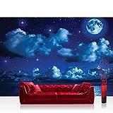 Fototapete 368x254 cm PREMIUM Wand Foto Tapete Wand Bild Papiertapete - Sternenhimmel Tapete Nacht Mond Sterne Sternenhimmel Wolken Meer blau - no. 2239