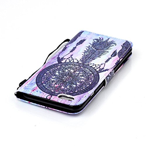 iPhone 6S Hülle, iPhone 6 PU Leder Hülle Tasche Handyhülle, iPhone 6S Silikonhülle Innen TPU Brieftasche Hülle Case mit Handy Lanyard, SainCat Muster Design Luxus Weich Ledertasche Wallet Flip Etui Sc Schwarz Campanula