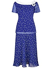 Jacques Vert Ex Top Skirt Suit Dress Blue Spotty Spotted Formal Party Wedding Ladies Evening Outfit