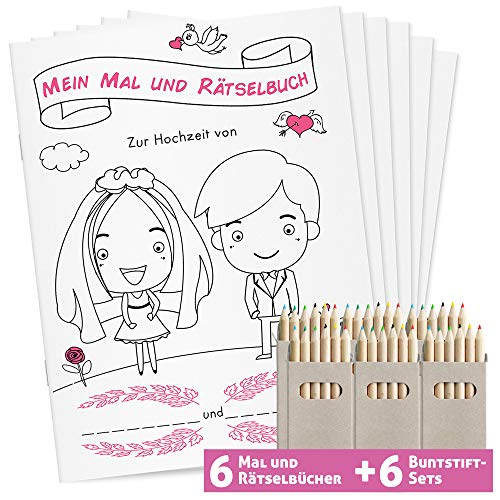 Hochzeitsmalbuch mit Stiften | 6er Set