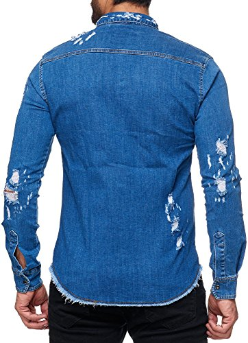 FiveSix Herren Jeanshemd Denim Used-Look Zerrissen Löcher Destroyed-Look Freizeithemd Shirt Hemd Dunkelblau