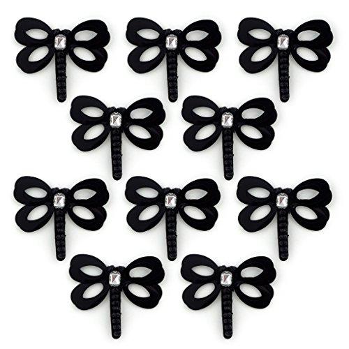 No.20 Nero Dragonfly Circle Paillettes Cucire assetta con Diamante e perline - abbellimenti per Abbigliamento, Accessori - Confezione da