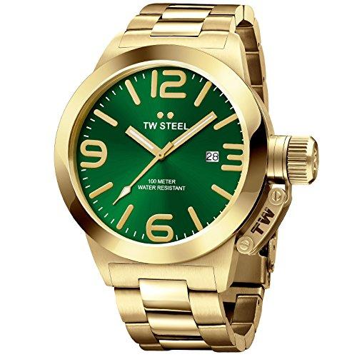TW Steel Canteen pulsera Dial Amarillo Chapado en oro verde Cuarzo cb221–Reloj para hombre
