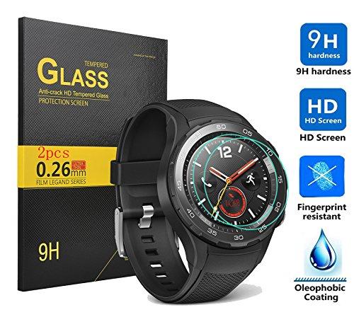Huawei Watch 2 Schutzfolie,KuGi Huawei Watch 2 panzerglas folie - [2 pack]High Quality 9H Härte HD gehärtetem Glas-Schirm-Schutz für Huawei Watch 2 smartwatch.