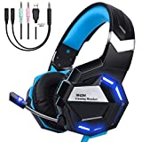 NHSM Gaming Headset PC 3.5mm LED Kopfhörer mit Mikrofon Surround Sound Lautstärkeregelung Mac Windows PS4 Xbox One Laptop Tablet Mobile Phones Schwarz/Blau