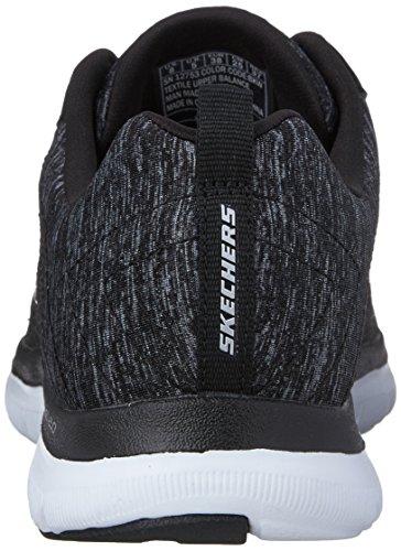 Skechers Flex Appeal 2.0 High Energy, Baskets Basses Femme Black/White