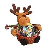 Siswong Christmas Santa Claus/Snowman/Elk Candy Storage Box Xmas Decoration Basket Gift for Kids 22*22CM (Elk)