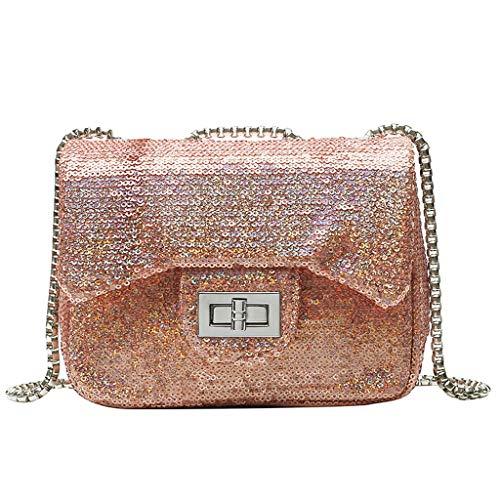 XZDCDJ UmhängeTaschen Damen Damen Mode Reine Farbe Pailletten Crossbody Umhängetaschen Geldbörse Messenger Bag Gold -
