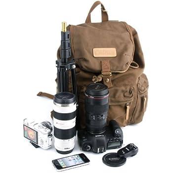 Agemore® Canvas Dslr SLR Camera Shoulder Bag Backpack: Amazon.co ...