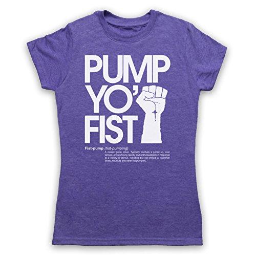 Pump Yo Fist Slogan Damen T-Shirt Jahrgang Violett