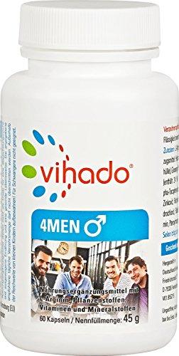 Vihado 4MEN Kapseln - Fruchtbarkeit + Testosteronspiegel + Sperma + Hormontätigkeit + gegen Müdigkeit, 60 Kapseln, 1er Pack (1 x 45 g)