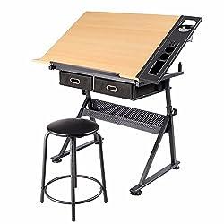 Yaheetech Zeichentisch Architektentisch Verstellbarer Tischplatte Schreibtisch Schülerschreibtisch mit Hocker und Schubladen Höhenverstellbar Arbeitstisch für Techniker Architekten