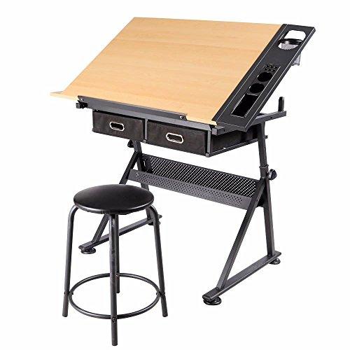 Yaheetech Zeichentisch Schreibtisch Arbeitstisch Bürotisch, mit 2 Schubladen höhenverstellbar
