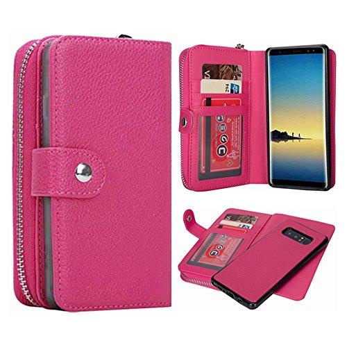 Galaxy Note 8Geldbörse Fall, hysjy Magnetic Abnehmbare Flip Leder Telefon Fall mit Kartenfächern Wristlet Gurt Tasche Abnehmbarer Slim Back Cover für Samsung Galaxy Note 8, Zip-Rose -