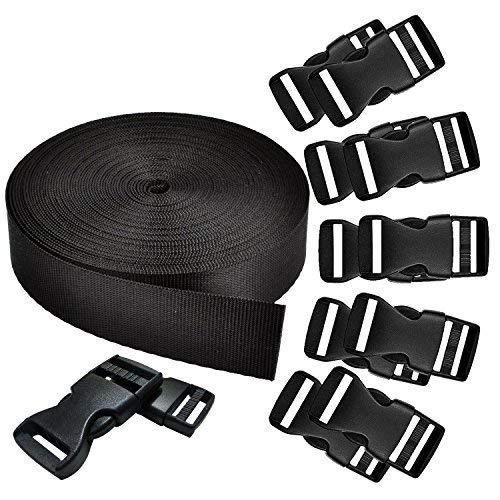 REKYO 1 Zoll Breite 10 Yards schwarz Nylon schwere Gurtband und 12ER Flachseite Release Schnallen Nylon Gurtband für DIY Handwerk Rucksack Umreifung