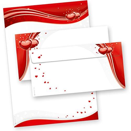 TATMOTIVE Rote Herzen / 25+25 Briefpapier+Umschläge Set/DIN A4 / 90 g Offsetpapier | Umschläge | Mappe